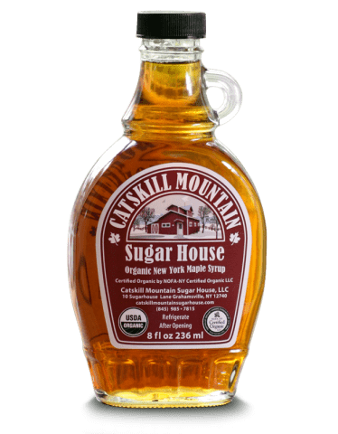 Catskill Mountain Sugar House Maple Syrup 8oz Glass Handle.