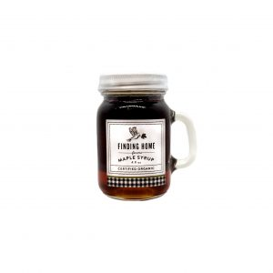 Finding Home Maple Syrup in a 4 ounce mason jar.